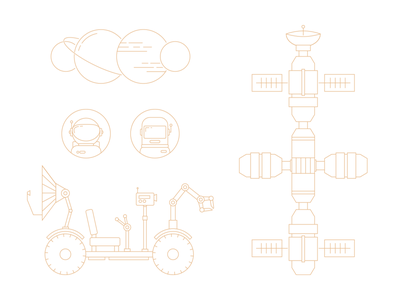 Shopware Enterprise illustrations minimal planets space lineart illustration