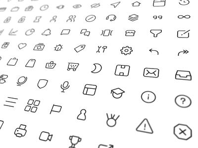 Icon set minimal 1px border feather icons