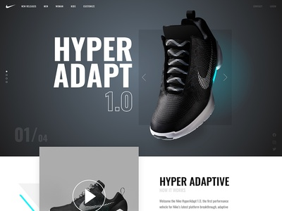 Nike Hyper Adapt concept ux landing page sneakers interface ui webdesign