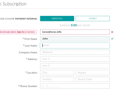 Subscription ui design ux design signup payment