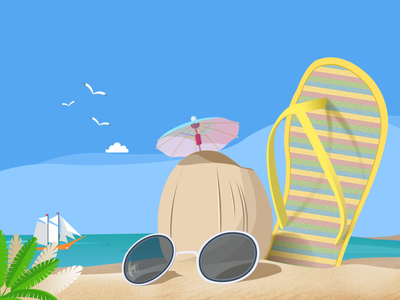 Beach shot illustration beach