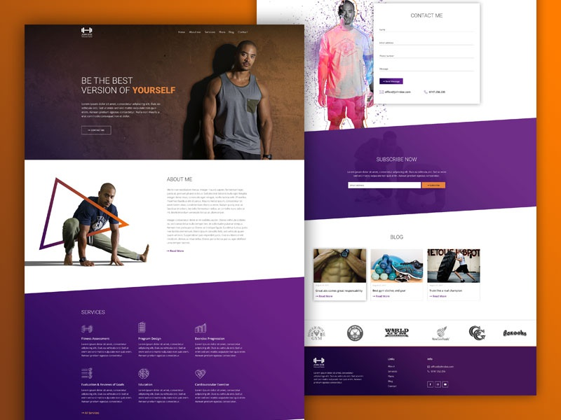 Personal trainer website contact form personal trainer web design gym fitness plans pricing design website