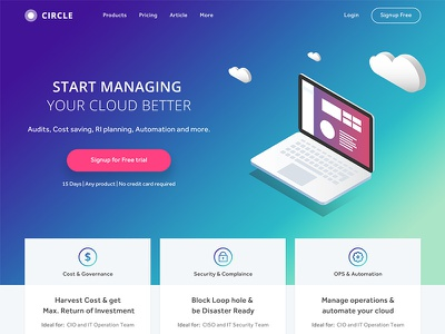 Circle: Cloud Managing Platform photoshop try for free landing page isometric projection ux design ui design platform cloud