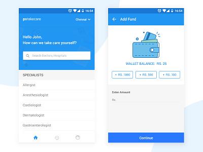 Medical App UI hospitals doctors material design consultation add fund medical