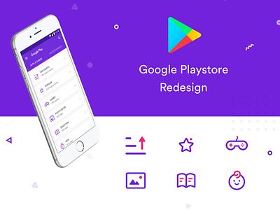 Playstore Redesign icon design branding colourful interaction design redesign playstore google