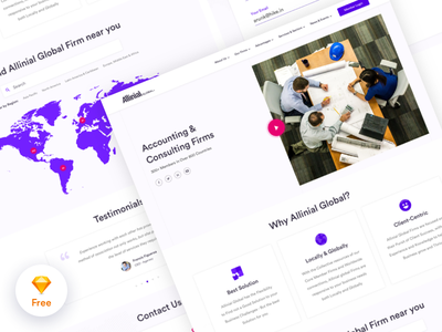 Landing Page - Accounting & Consulting Firms social video contact us testimonials near you minimal design clean sketch free website landing page