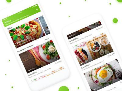 Food Delivery App - Home Screen, Offers, Restaurants visual design creative ux ui restaurants offers home screen food app