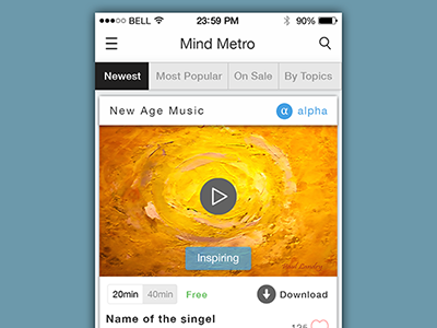 New project in progress download share psd icon ui ux meditation music iphone