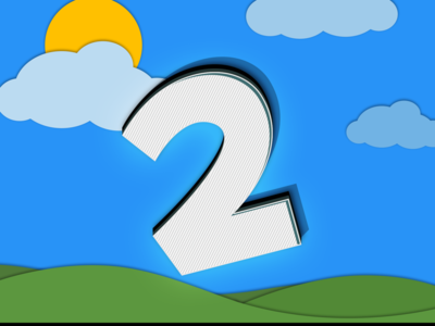 2 videogame sun grass sky clouds branding logo handlettering 2 two lettering