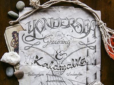 Yondersea logo hand-lettering barbershop ship sea navy ocean design poster branding lettering