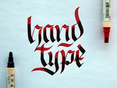 Handtype ligatures calligraphy red black typography type lettering hand-lettering