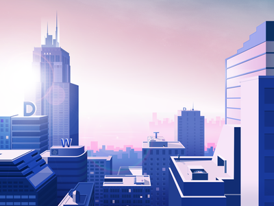 A new start 2018 purple sun building shadow morning new city illustrations light