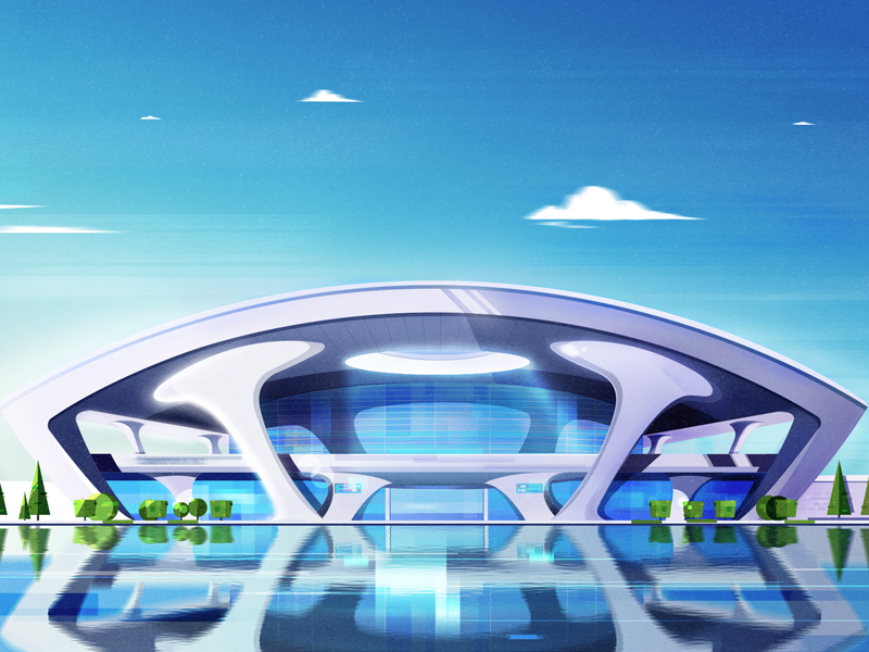 Railway Station blue sky city tree projection water light station illustrations