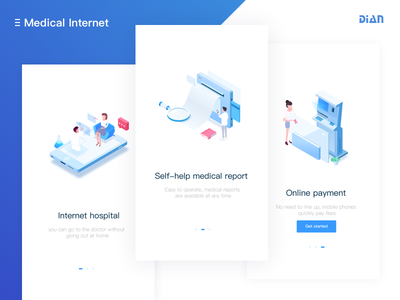 Medical app start page blue isometric medical illustrations ui