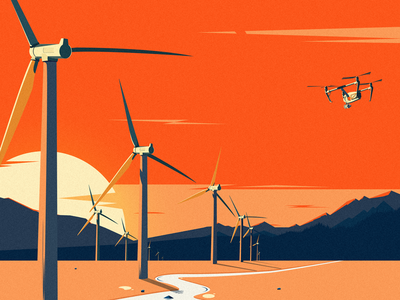 Windmill sun windmill illustration uav