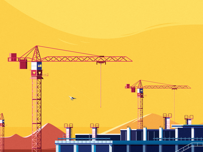 Construction building drone uav sun illustration