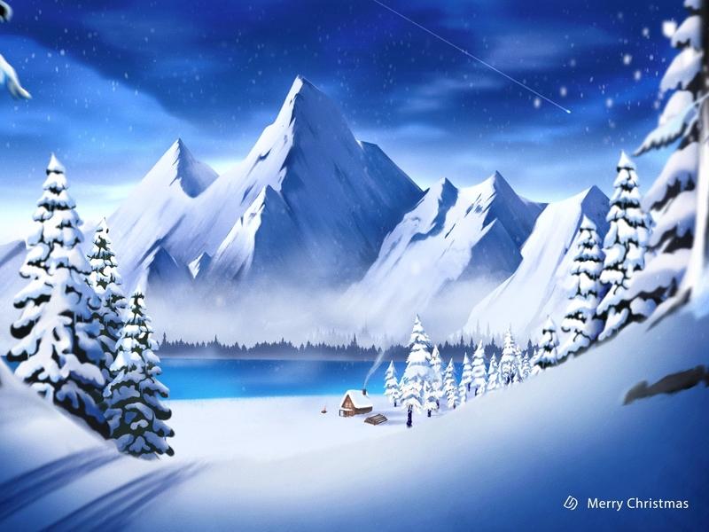 Merry Christmas Dwtd tree winter dwtd mountain blue snow christmas illustration