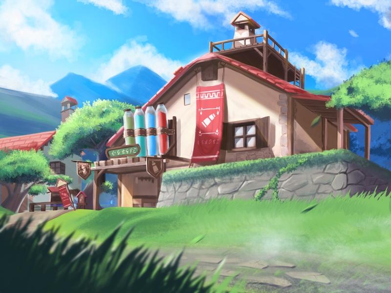 Hateno Village house tree the legend of zelda dwtd skyblue sky link zelda village illustration