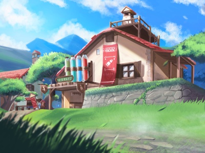 Hateno Village house tree the legend of zelda dwtd skyblue sky link zelda village illustration