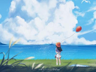 Summer vacation dwtd summer cloud sky girl people light blue illustration
