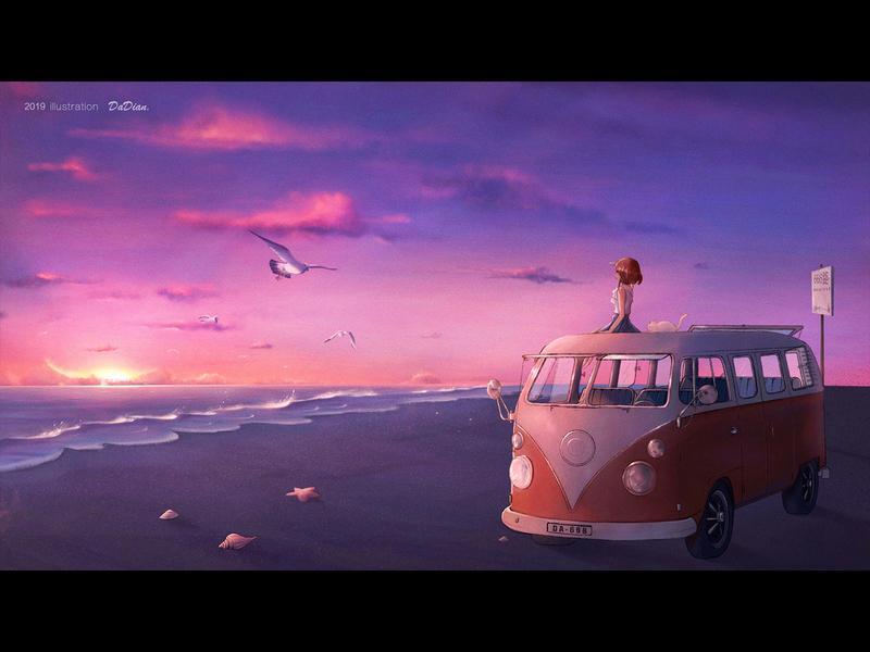Sunset glow environment bus sky sea light illustrator illustration
