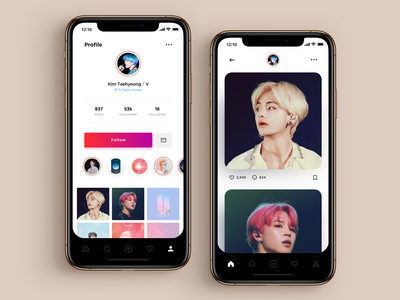 Daily UI 006 - BTS User Profile bts v user profile profile instagram bts icon vector illustration interface apple ui sketch simple material dailyui app ux design