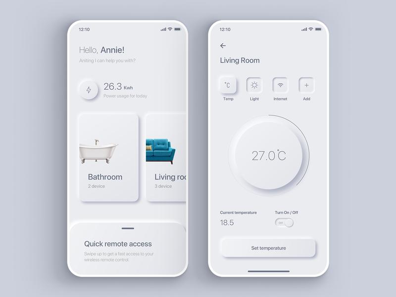 Daily UI 007 - Smart Home App Settings colors digital mobile minimal shadow neumorphic neumorphism gradient interface ui sketch simple app ux design dailyui