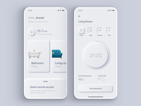 Daily UI 007 - Smart Home App Settings colors digital mobile minimal shadow neumorphic neumorphism gradient interface ui sketch simple app ux design dailyui