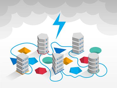 Intel Data Storage Illustration data servers tech minimalist clean isometric vector illustrator