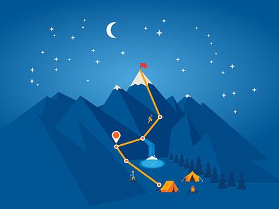 Intel Mountain Climbing Illustration vector flat mountain illustrator intel
