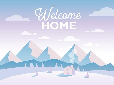 Winter Home Illustration sunrise clouds mountains home winter gradients illustration