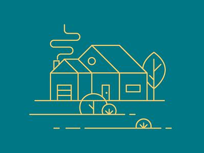 Home Illustration Explorations geometric flat gold teal illustration line art home