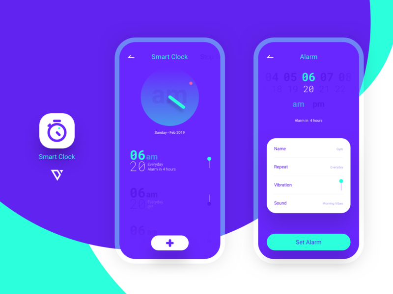 Smart Clock App clock icon branding design ux ui logo
