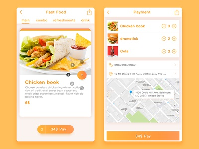 APP-food fast food seat pay pages take out food icons app ui