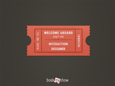 BookMyShow: Welcome Aboard Ticket Stub welcome aboard email theme photoshop design bookmyshow