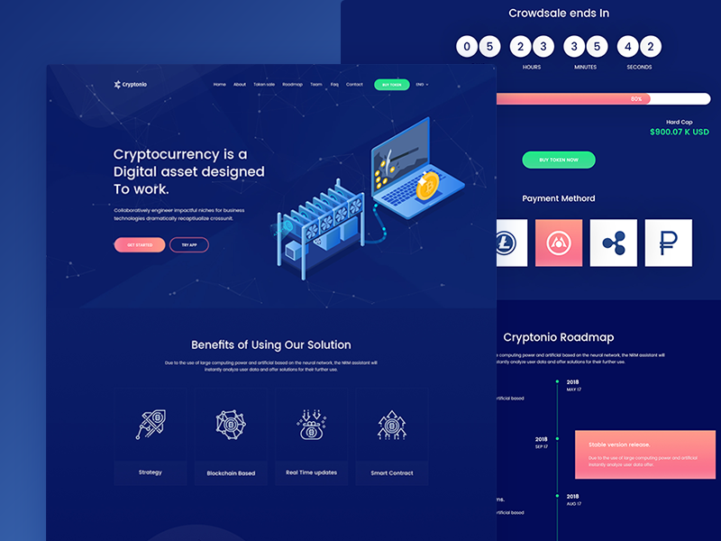 ico crypto cryptocurrency landing template