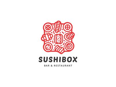Sushi Box Logo logo for sale logo mark lineart logodesign illustration icon flat branding logo design box sushi logo sushi