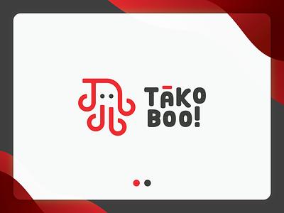 TakoBoo! Logo logo for sale lineart logo mark logodesign flat branding logo design japanese logo ghost tako takoyaki logo takoyaki