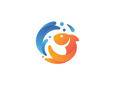 Fish Logo Concept splash fish logo fish gradient logo mark logodesign vector icon branding logo design