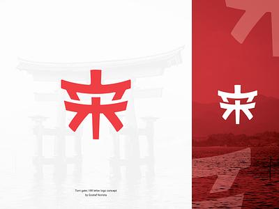 Torii Gate Logo Concept minimalist logo monogram torri logo japan logo japanese japanese logo torri gate torri rr logo logo for sale logo mark flat branding logo design
