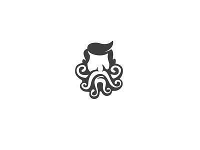 Tentacle Beard Barber Logo minimal logo minimalist barbershop logo barbershop beard logo tentacle logo beard tentacle vector logo icon flat design