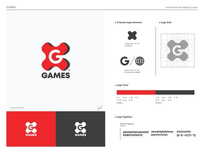 X-GAMES Logo Concept negative space logo mark sports logo icon flat concept redesign branding design logo
