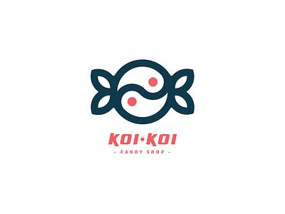 KOI-KOI Logo lineart design illustration branding logo for sale koi logo yin yang icon logo candy shop candy logo candy koi fish koi
