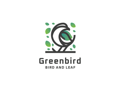 Greenbird Logo bird logo logo mark logo for sale lineart logodesign flat illustration icon branding logo design