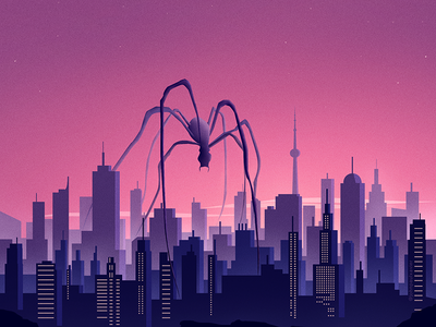 ENEMY adobe cc digital art art cityscape color purple inspiration monster spider enemy retro illustration