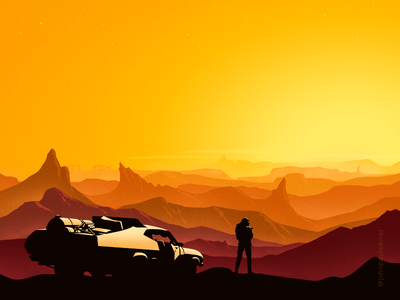 Fury Road illustration mad max atmosphere inspiration fantasy art fantasy orange color car art digital art adobe cc