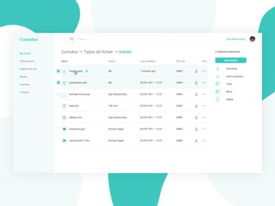 Cumulus – Dashboard files interface icon cloud dashboard design ux ui