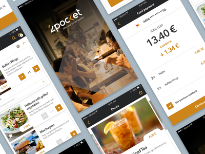 Mobile App to order in restaurants topmonks restaurant payment food orders application mobile app gold black ux design ux design ui mobile ui app