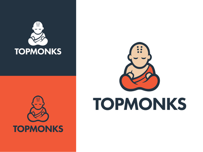 Topmonks company logo branding vector design character logotype illustration logo design monk logo