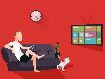 Build online TV Channel/Web TV Station - illustration Image cat furniture clock red realx tv illustration tv channel build online tv channel